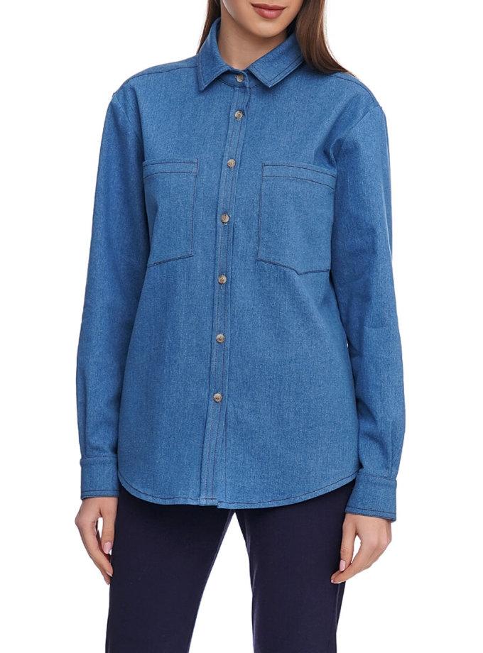 Джинсовая рубашка с накладными карманами AY_2922, фото 1 - в интернет магазине KAPSULA