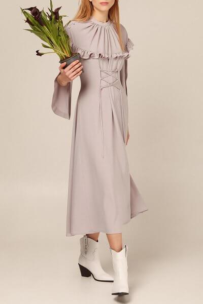 Платье миди с широкими рукавами AY_2927, фото 3 - в интеренет магазине KAPSULA