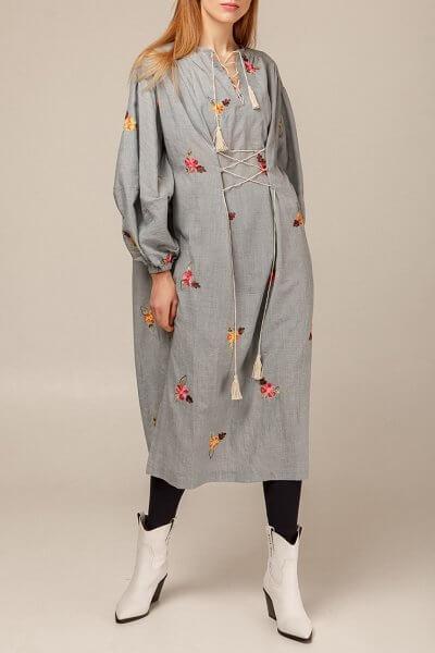 Объемное платье в цветочный принт AY_2938, фото 1 - в интеренет магазине KAPSULA