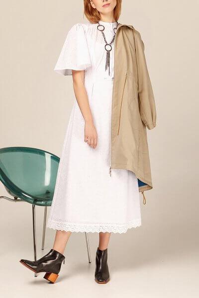 Хлопоковое платье миди с кружевом AY_2941, фото 1 - в интеренет магазине KAPSULA