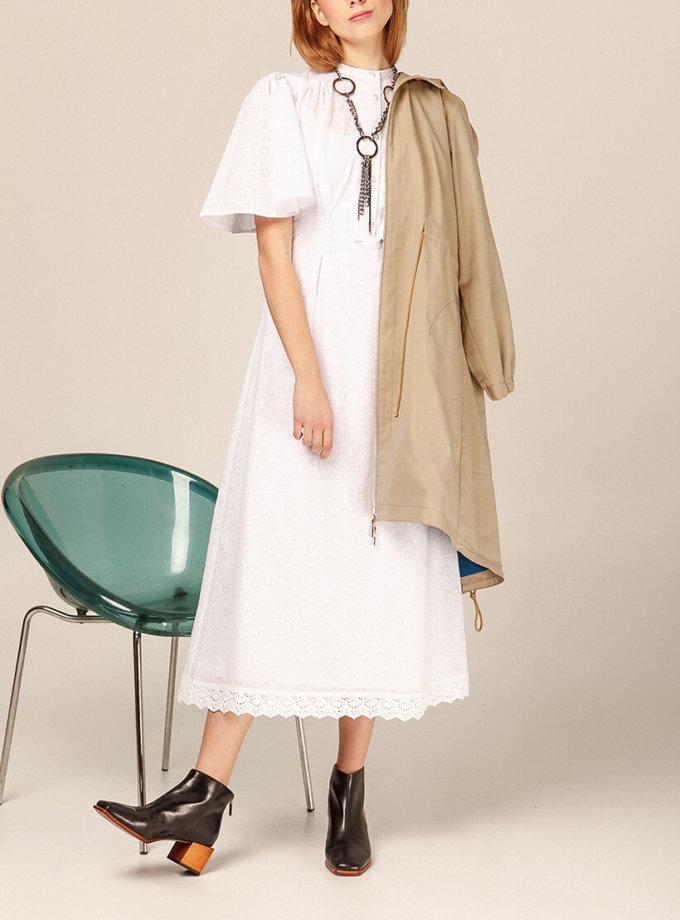 Хлопоковое платье миди с кружевом AY_2941, фото 1 - в интернет магазине KAPSULA