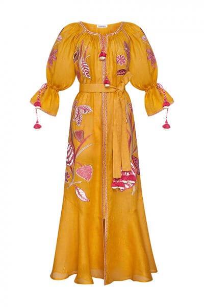 Платье Эдэм из льна  с вышивкой FOBERI_SS20032, фото 1 - в интеренет магазине KAPSULA