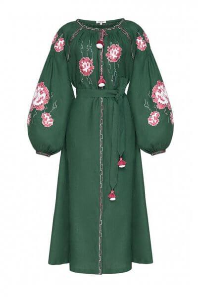 Платье из льна Камелия с ручной отделкой FOBERI_AW20001, фото 1 - в интеренет магазине KAPSULA