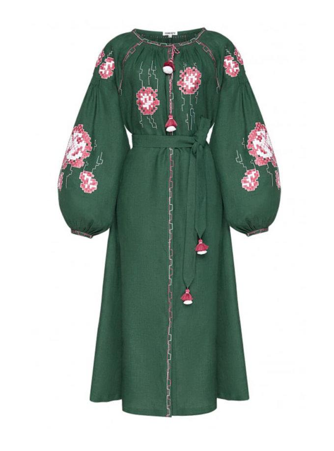 Платье из льна Камелия с ручной отделкой FOBERI_AW20001, фото 1 - в интернет магазине KAPSULA