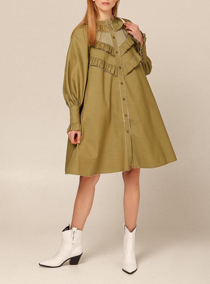 Платье из хлопка с рюшами AY_2936, фото 1 - в интернет магазине KAPSULA