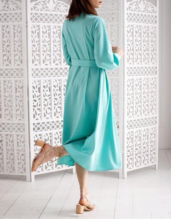 Платье А силуэта с широким рукавом NBL_09-PVSHRМ, фото 4 - в интеренет магазине KAPSULA