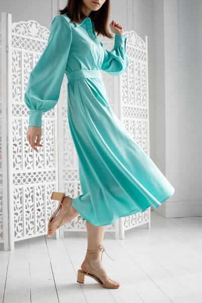 Платье А силуэта с широким рукавом NBL_09-PVSHRМ, фото 1 - в интеренет магазине KAPSULA