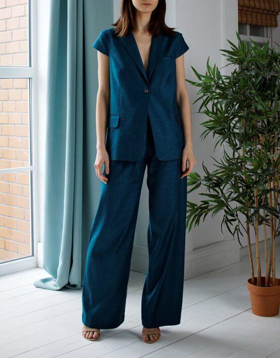 Брючный костюм из хлопка и льна NBL_12-KBGMV, фото 6 - в интеренет магазине KAPSULA
