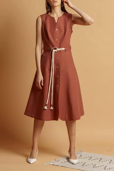 Хлопковое платье с поясом INS_SS20_11, фото 1 - в интеренет магазине KAPSULA