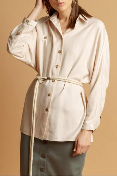 Рубашка из хлопка с поясом INS_SS20_7, фото 1 - в интеренет магазине KAPSULA