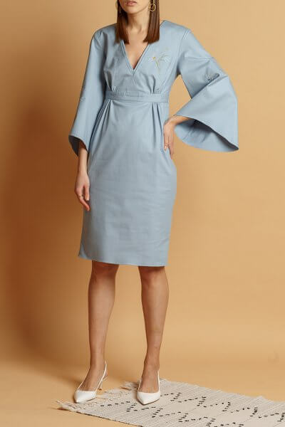 Хлопковое платье с вышивкой INS_SS20_8, фото 2 - в интеренет магазине KAPSULA