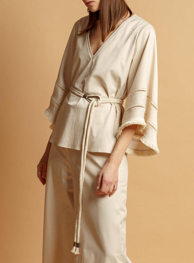 Блуза из хлопка с поясом INS_SS20_9, фото 1 - в интернет магазине KAPSULA