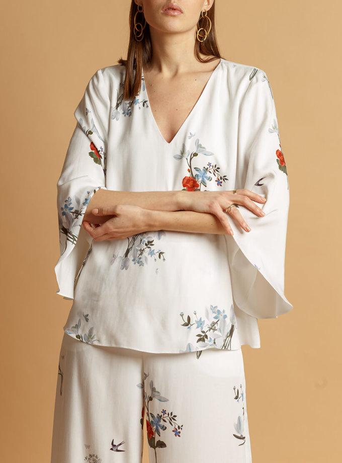 Хлопковая блуза в принт INS_SS20_9_01, фото 1 - в интернет магазине KAPSULA