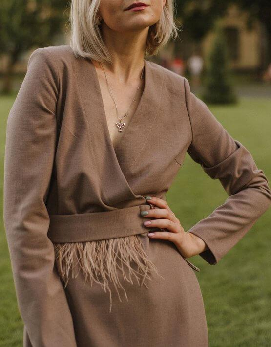 Платье на запах с перьями MNTK_MTDRS204, фото 5 - в интеренет магазине KAPSULA
