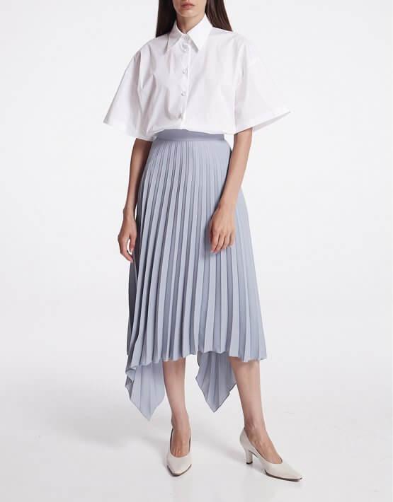 Асимметричная юбка плиссе SHKO_19062002, фото 5 - в интеренет магазине KAPSULA