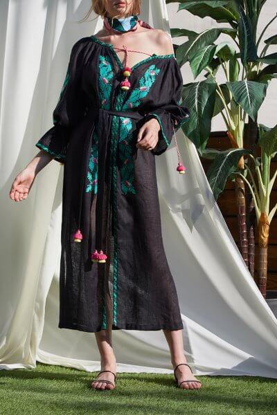 Туника Клэр из льна с вышивкой FOBERI_SS20001, фото 7 - в интеренет магазине KAPSULA
