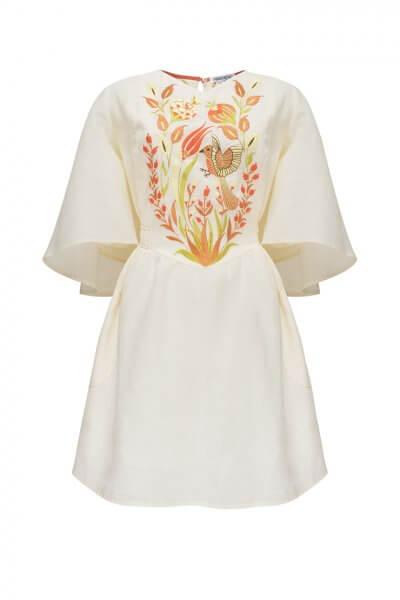 Платье Квезаль с авторской вышивкой из льна FOBERI_SS20011, фото 1 - в интеренет магазине KAPSULA