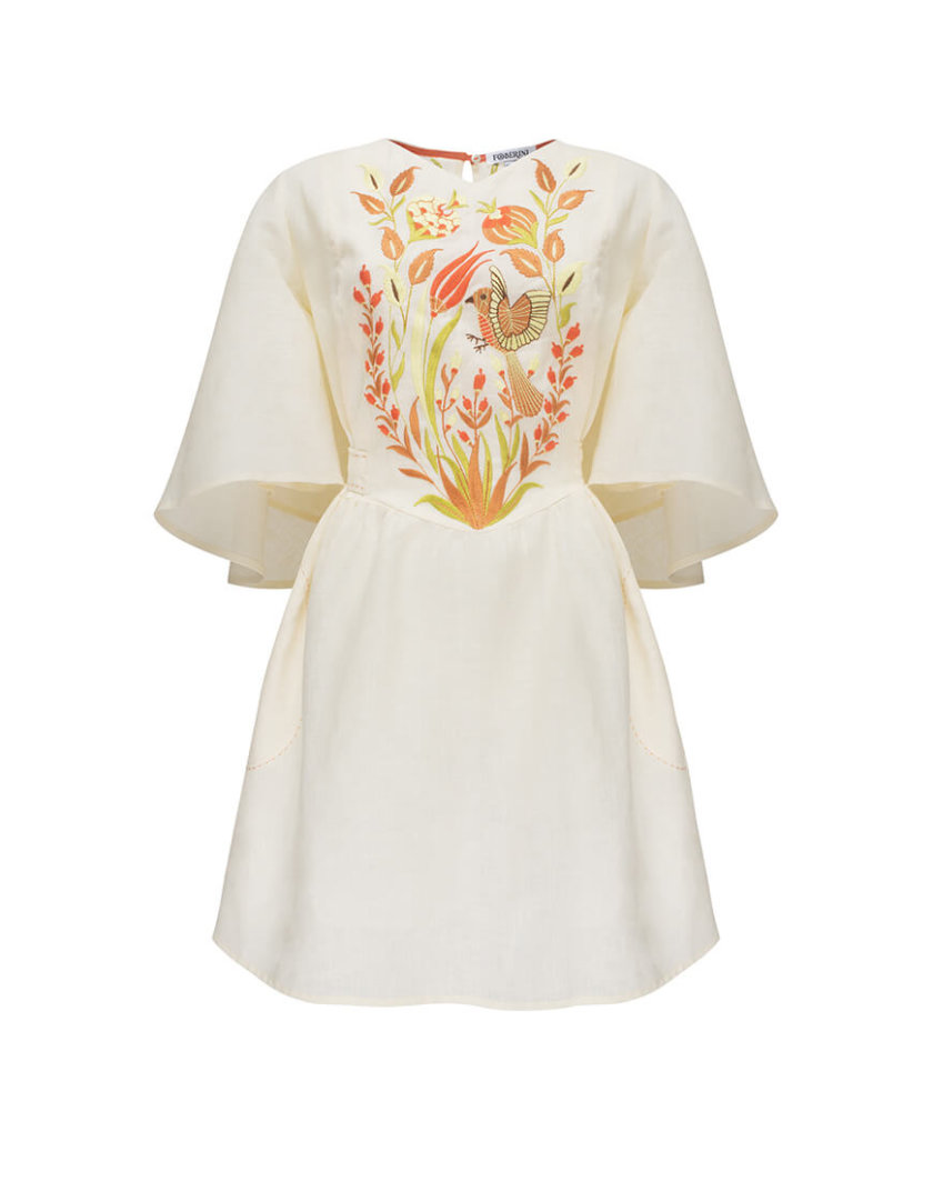 Платье Квезаль с авторской вышивкой из льна FOBERI_SS20011, фото 1 - в интернет магазине KAPSULA