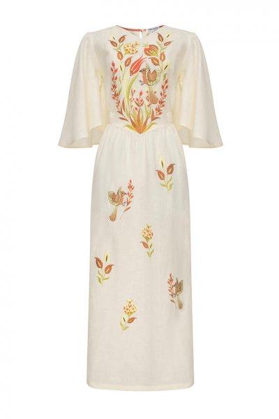 Платье Квезаль с авторской вышивкой из льна FOBERI_SS20012, фото 1 - в интеренет магазине KAPSULA