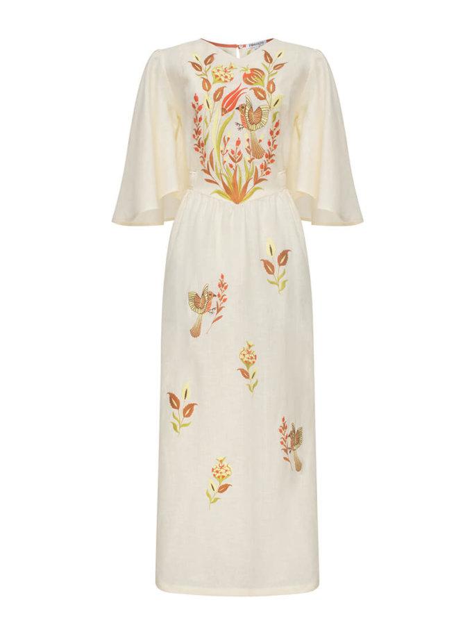 Платье Квезаль с авторской вышивкой из льна FOBERI_SS20012, фото 1 - в интернет магазине KAPSULA