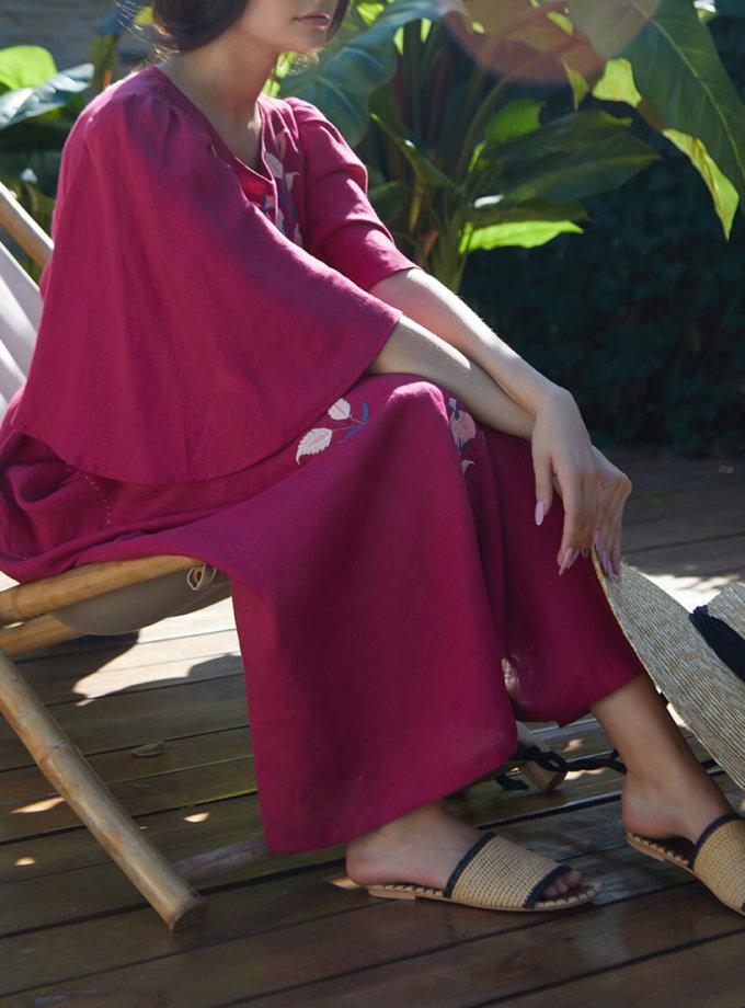Платье Квезаль из льна с вышивкой FOBERI_SS20013, фото 1 - в интеренет магазине KAPSULA