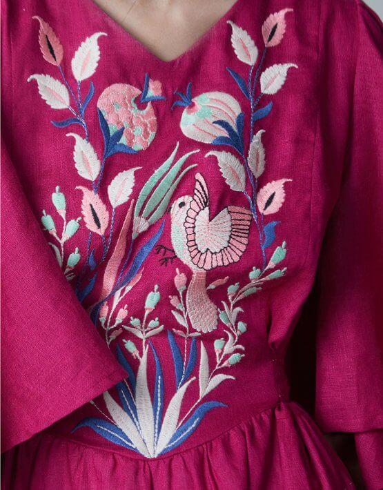 Платье Квезаль из льна с вышивкой FOBERI_SS20013, фото 8 - в интеренет магазине KAPSULA