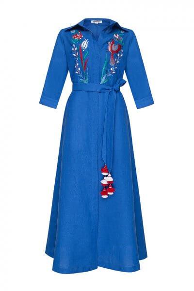 Платье из льна Квезаль с вышивкой FOBERI_SS20016, фото 1 - в интеренет магазине KAPSULA