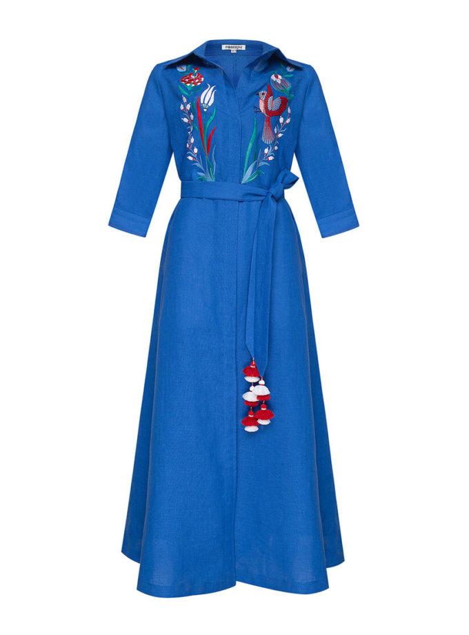 Платье из льна Квезаль с вышивкой FOBERI_SS20016, фото 1 - в интернет магазине KAPSULA