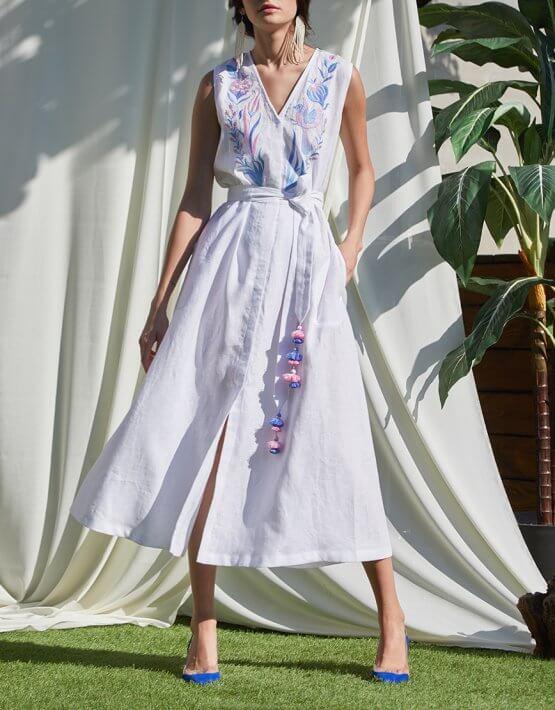 Платье Квезаль с авторской вышивкой из льна FOBERI_SS20017, фото 9 - в интеренет магазине KAPSULA