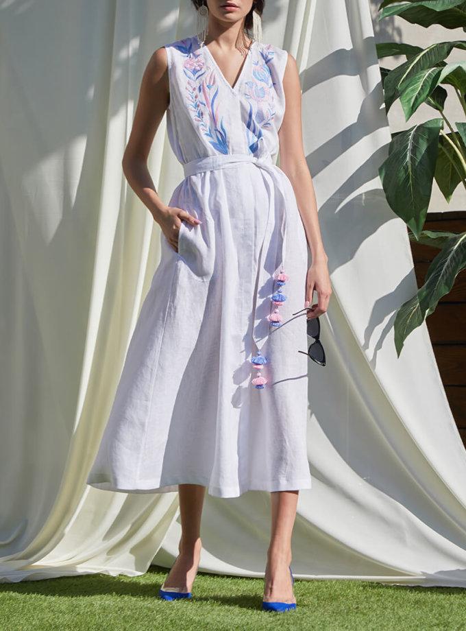 Платье Квезаль с авторской вышивкой из льна FOBERI_SS20017, фото 1 - в интеренет магазине KAPSULA