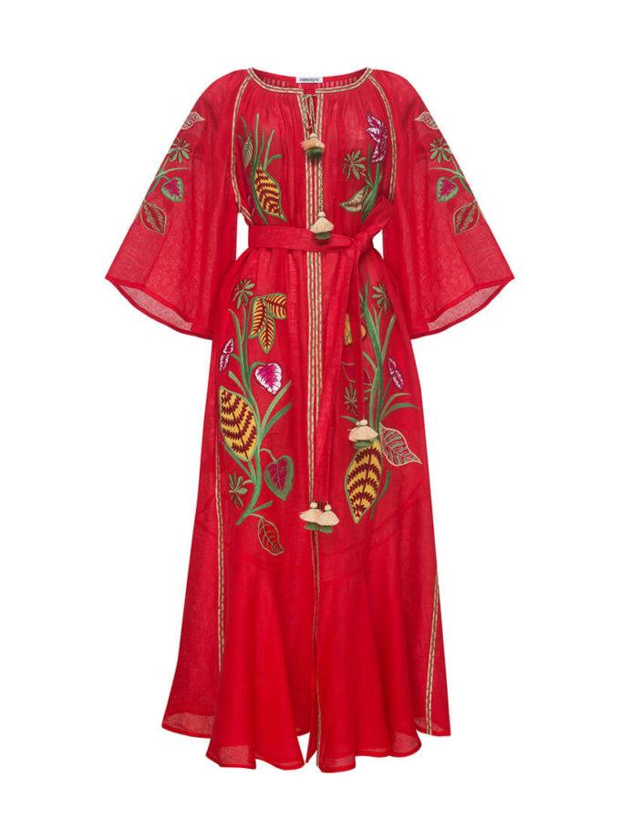 Платье Эдем из льна с рукавами воланами FOBERI_SS20020, фото 1 - в интернет магазине KAPSULA