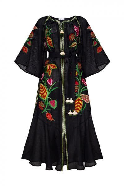 Платье из льна Эдэм на кнопках FOBERI_ SS20021, фото 3 - в интеренет магазине KAPSULA