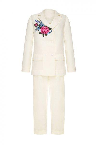 Брючный костюм Роза из льна с вышивкой FOBERI_SS20040, фото 6 - в интеренет магазине KAPSULA