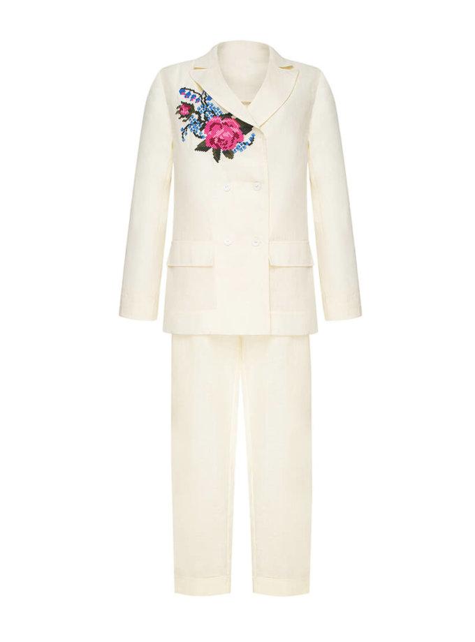 Брючный костюм Роза из льна с вышивкой FOBERI_SS20040, фото 1 - в интеренет магазине KAPSULA