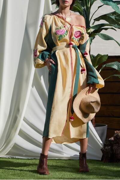 Платье Флора с объемными руками из льна FOBERI_SS20055, фото 1 - в интеренет магазине KAPSULA