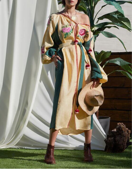 Платье Флора с объемными руками из льна FOBERI_SS20055, фото 5 - в интеренет магазине KAPSULA