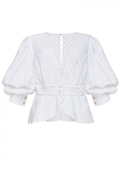 Блуза из хлопка Лебедь FOBERI_SS20060, фото 4 - в интеренет магазине KAPSULA