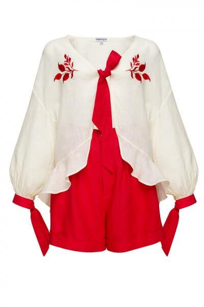 Льняной костюм с шортами Азалия круиз FOBERI_SS20073, фото 4 - в интеренет магазине KAPSULA