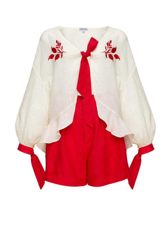 Льняной костюм с шортами Азалия круиз FOBERI_SS20073, фото 1 - в интернет магазине KAPSULA