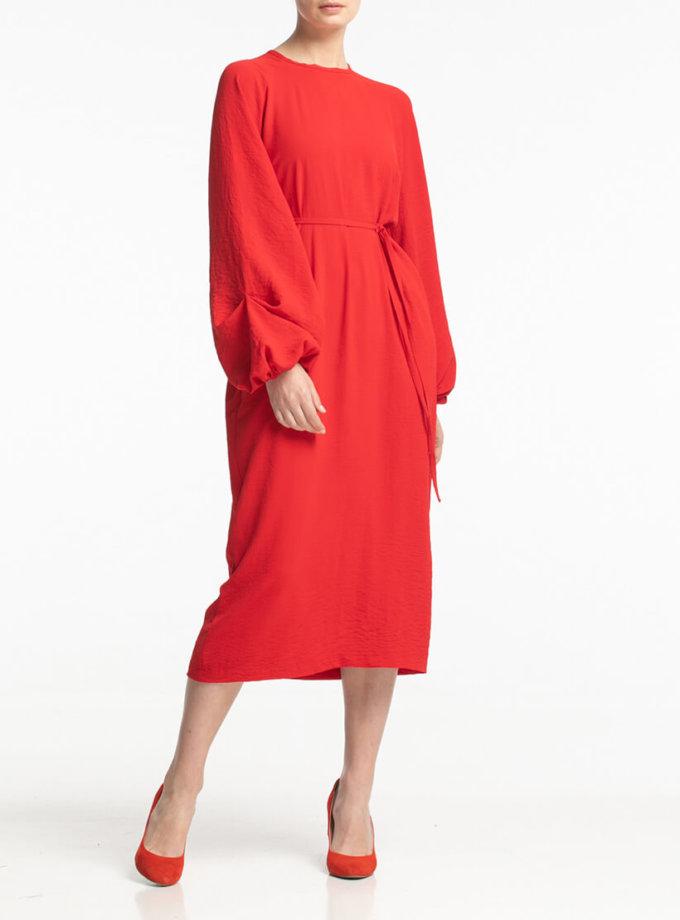 Платье миди со сборкой на запястье ALOT_100384, фото 1 - в интернет магазине KAPSULA