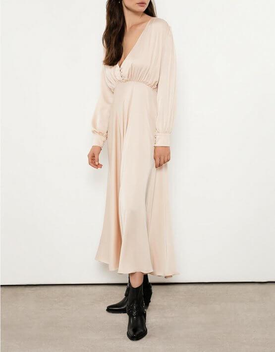Шелковое платье миди в винтажном стиле OTS_3-07-beige, фото 5 - в интеренет магазине KAPSULA