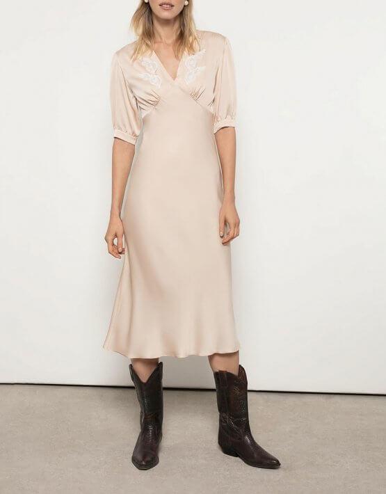 Шелковое платье с вышивкой OTS_3-11-beige, фото 4 - в интеренет магазине KAPSULA