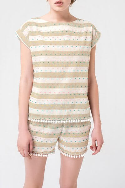 Хлопковая пижама в полоску BLCGR_BLCN350, фото 1 - в интеренет магазине KAPSULA