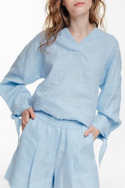 Льняная блуза с объемными рукавами BLCGR_BLCN680, фото 1 - в интеренет магазине KAPSULA