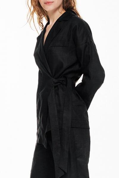 Жакет из льна с асимметричной завязкой BLCGR_BLCN681, фото 1 - в интеренет магазине KAPSULA