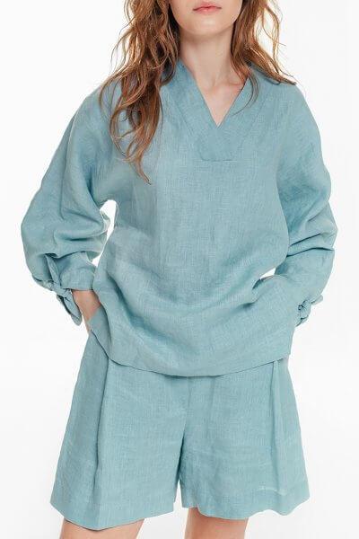 Льняная блуза с объемными рукавами BLCGR_BLCN684, фото 1 - в интеренет магазине KAPSULA