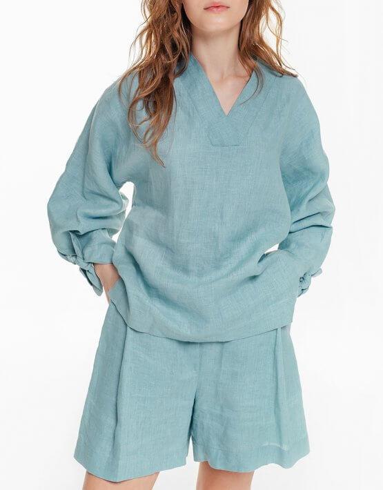 Льняная блуза с объемными рукавами BLCGR_BLCN684, фото 3 - в интеренет магазине KAPSULA