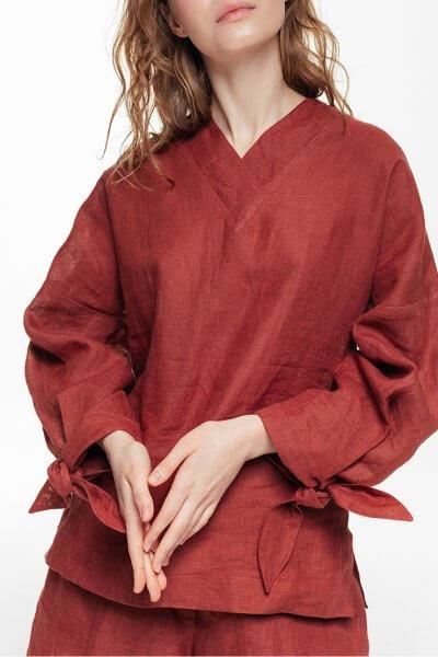 Льняная блуза с объемными рукавами BLCGR_BLCN686, фото 1 - в интеренет магазине KAPSULA
