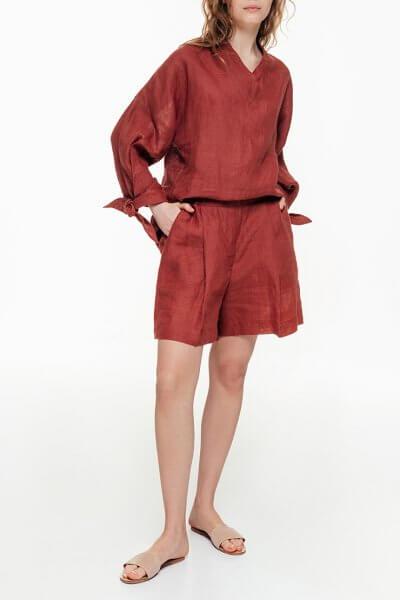 Льняные шорты со складками BLCGR_BLCN692, фото 1 - в интеренет магазине KAPSULA