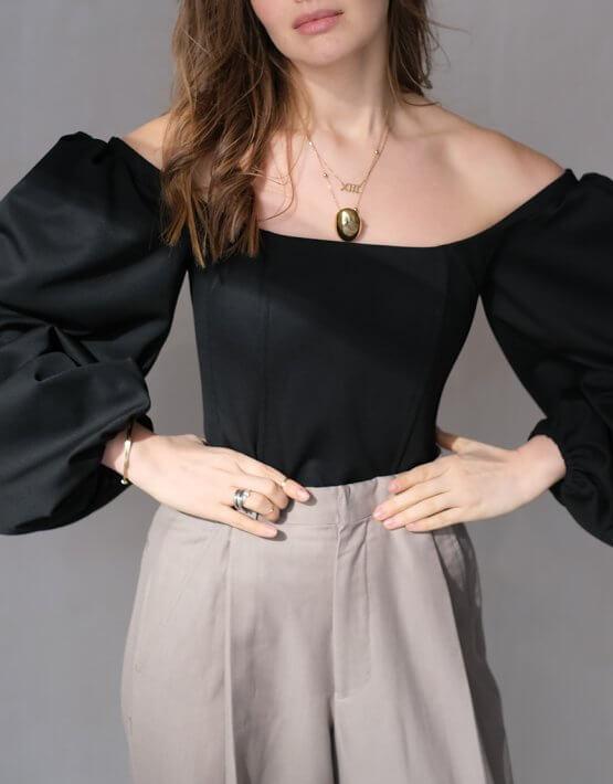 Корсет с рукавами-буфами MSY_black_corset, фото 5 - в интеренет магазине KAPSULA